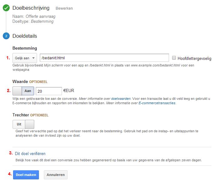 Doelbeschrijving in Google Analytics